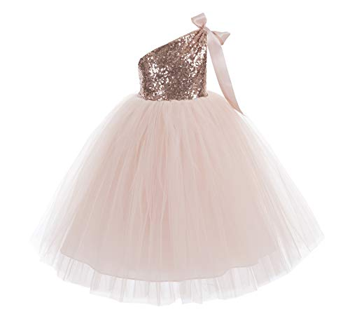 ekidsbridal One-Shoulder Sequin Tutu Flower Girl Dress Wedding Pageant Dresses Ball Gown Tutu Dresses 182 12