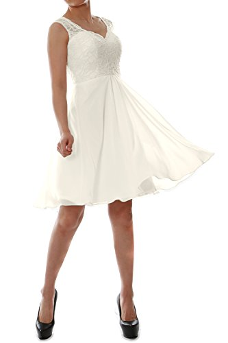 MACloth Women V Neck Lace Chiffon Short Formal Evening Cocktail Party Dress (46, Ivory)
