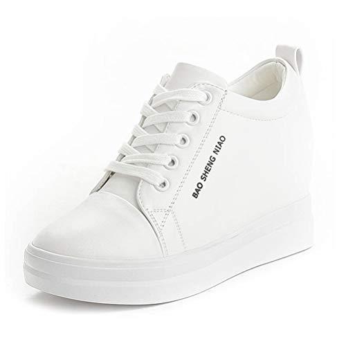 Zapatillas de Deporte para Mujer Zapatos Deportivos Casuales Que Aumentan la Altura Tacones de Plataforma Zapatos atléticos Cuñas con Cordones Zapatillas de Deporte Zapatos de 3.5 cm de Altura