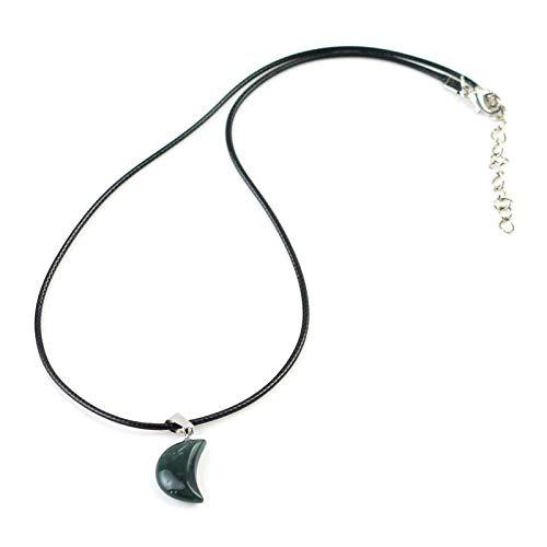 N/V Collares de Gargantilla de Piedra de Cuarzo con Forma de Luna, Collar con Colgante de Cristal de Piedra Natural para Mujeres, Amuleto para Hombres, meditación curativa-Aquatic_Agate