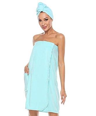 Kniffi Womens Wrap Towel Spa Wraps & Hair Towel Body Wrap Adjustable Closure Bathrobe