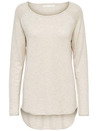 ONLY Damen Strickpullover Lang LOatmeal