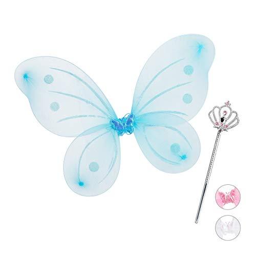 Relaxdays Feenflügel mit Zauberstab, Fee Kostüm Kinder, Flügel & Zepter, Glitzer, Mädchen, Feenset, blau & silber