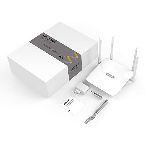 WAVLINK AC1200 Dual-Band WLAN Router, WiFi Router für den Betrieb an einem Modem am Kabel-/DSL-/Glasfaser-Anschluss(WLAN Access Point/Repeater Modus,WPS, Gigabit-WAN-Port)