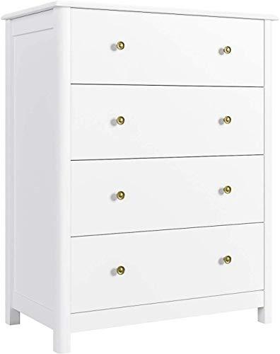 HOMECHO Schubladenkommode in Weiß Kommode mit 4 Schubladen Schubladenschrank Sideboard Anrichte für Schlafzimmer Wohnzimmer Badezimmer Skandinavische 74x40x94cm