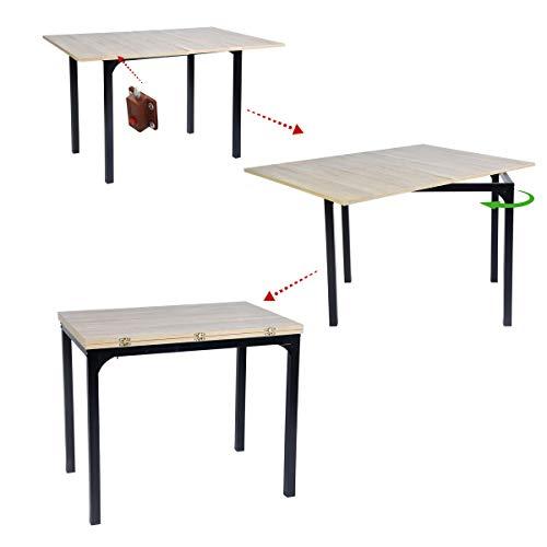 Muebles Cosy Mesa de Comedor Extensible MDF, Oak, 60-120 x 90 x 75-77 cm