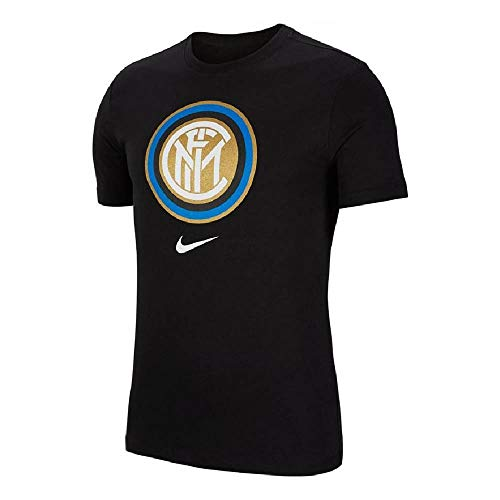 Nike Herren Inter M NK Tee Evergreen Crest T-Shirt, Black, M