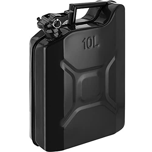 PrimeMatik - Bidón metálico para Gasolina o diésel 10 L Negro
