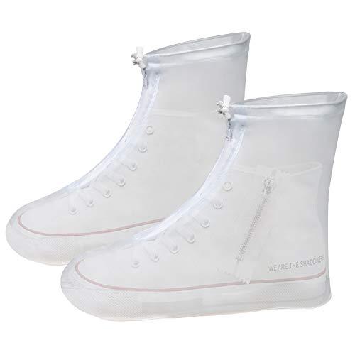 Vicloon Überschuh, Schuhe Abdeckung aus PVC, Überschuh wasserdichte, rutschfeste und Wiederverwendbar, Regenüberschuhe Mit Reißverschluss und Schnürsenkel für Regen, Schnee, Matsch (Größe XXL, Weiß)