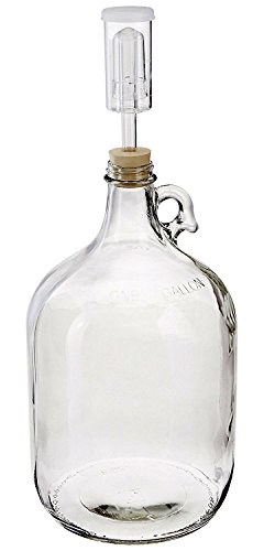 1 Gallon Glass Jug with Handle, Rubber Stopper & 3-Piece Airlock
