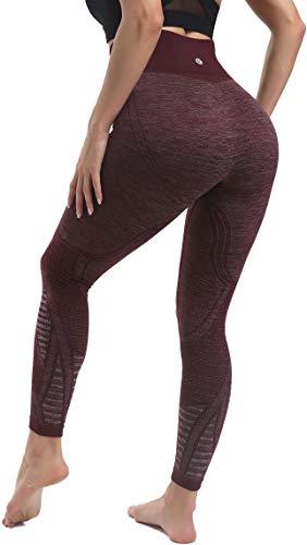 RUNNING GIRL High Waist Seamless Yoga Leggings for Women,Tummy Control Laser Cut-Out Compression Shapewear Leggings(CK2417.Dark Plum.L)