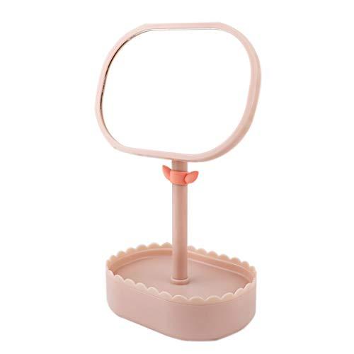 C-J-Xin Miroir en plastique HD de forme de pot de fleur verte, miroir de maquillage de miroir de maquillage de miroir de petite capacité de miroir de bureau de taille 28.5 * 17.5CM Miroir de maquillag