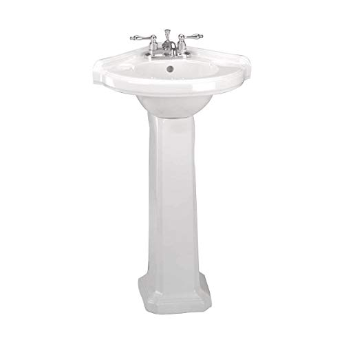 Portsmouth 22 Inch Corner Pedestal Bathroom Sink Small White - Overflow And Pre-Drilled 4 In. Centerset Faucet Holes - Grade A Porcelain Easy Clean And Install Renovators Supply Manufacturing