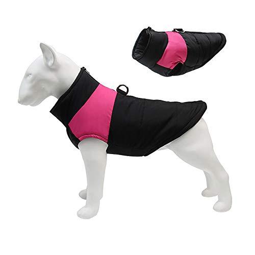 C/N Cappotti per Cani Invernali Cappotto Impermeabile per Cani Piccola Taglia Grande Giubbotti Invernale per Cani Giacca Caldo Cappotto con Foro per Imbracatura Rosa