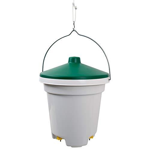 Cubeta bebedero para aves, gallinas, gallos, con tres pezones con filtro 12L
