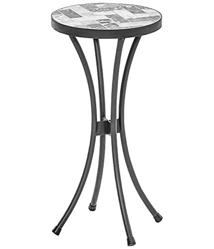 Dehner Blumenhocker Letizia, Ø 30 cm, Höhe 60 cm, Metall/Stein, mosaikoptik, grau/weiß