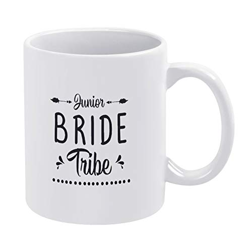 Taza de café de la tribu de la novia junior, regalo para hombres y mujeres, amigas, cumpleaños, 15 onzas de cerámica blanca