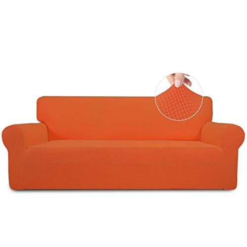 Easy-Going Stretch Sofa Slipcover 1-Piece Sofa Cover Furniture Protector Couch Soft with Elastic Bottom for Kids,Polyester Spandex Jacquard Fabric Small Checks(Sofa,Orange