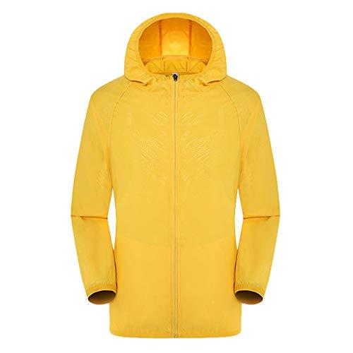 Top Abbigliamento Esterno per la Protezione Solare con Cappuccio a Maniche Lunghe Casual Giacche Antivento Antipioggia Ultraleggera per Uomo o Donna (M,Giallo)