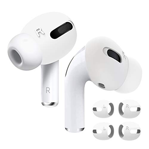 DamonLight AirPods Pro Cover [Fit in The case] [Comfortable Listening] Compatible with AirPods Pro Anti-Slip Silicone eartips Soft Sport Covers AirPods Pro Accessories2 Pairs (White)
