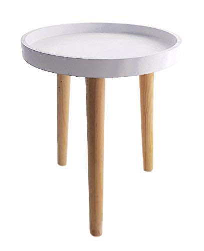 Decorative Wooden Table 36 x 30 cm - Small Side Table Coffee Table - White
