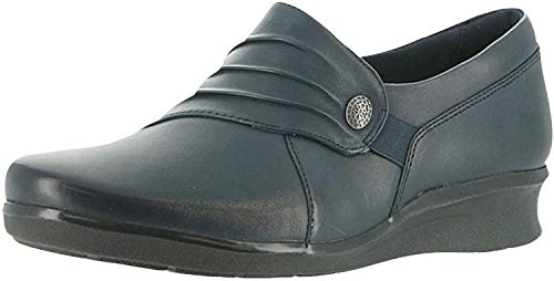 Clarks Womens Hope Roxanne Loafer, Navy Leather, 9.5 M US
