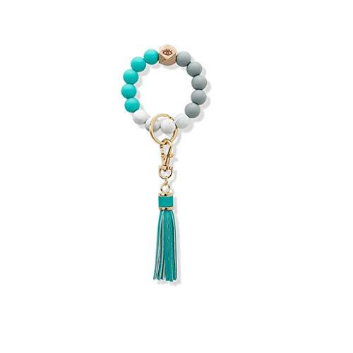 HBR Keychain Keychain For Women Silicone Key Ring Bracelet Car Keychain Beaded Wristlet Leather Tassel for Women And Girls for Women Girls Gifts (Color : Green)
