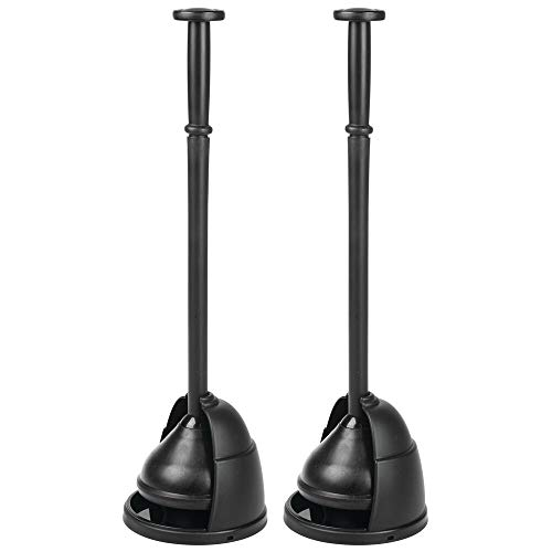 mDesign Plastic Toilet Bowl Plunger Set - with Drip Tray, Compact Discreet Freestanding Bathroom Storage Organization Caddy with Base, Sleek Modern Design - Heavy Duty, 2 Pack - Black