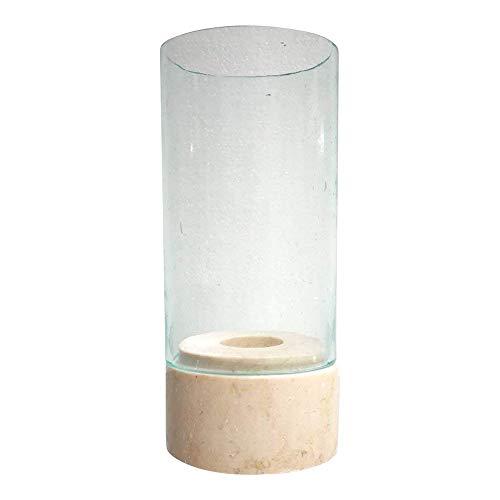 PTMD dasmöbelwerk Windlicht Mamorfuß Glasaufsatz Teelicht Kerzenständer Home Collection 647757