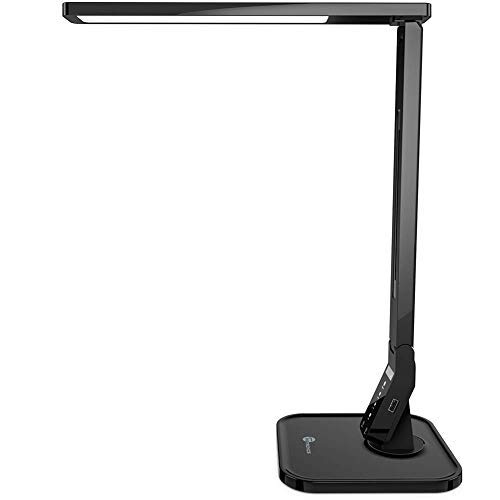 Lámpara Escritorio Usb LED TaoTronics Flexo de Escritorio (4 Modos, 5 Niveles de Brillo, USB 5v/1A para cargar, Temporizador de 60min) para Leer, Estudiar, Cuidado de ojos, Color Negro