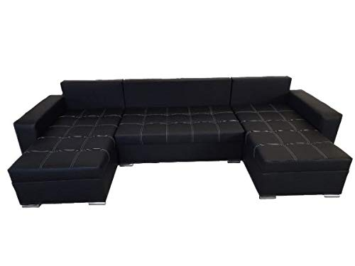 PM Ecksofa Schlaffunktion Bettfunktion Couch U-Form Polstergarnitur Wohnlandschaft Polstersofa mit Ottomane Couchgranitur - BRUNS Schwarzes Öko-Leder...