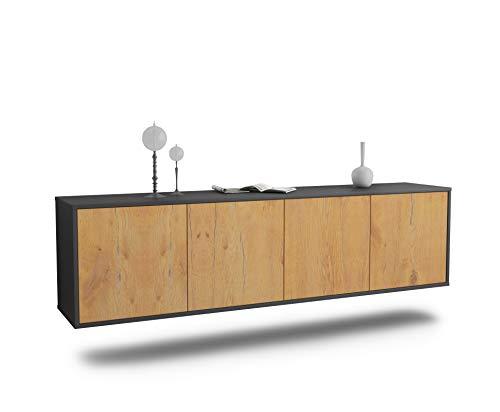 Dekati Lowboard Anaheim hängend (180x49x35cm) Korpus anthrazit matt | Front Holz-Design Eiche | Push-to-Open