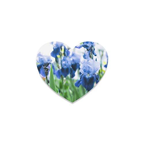 Posavasos con tapete para Taza para Hombres Flor de Iris floreciente en un Prado Posavasos Personalizados para Bebidas Taza Posavasos Lindos en Forma de corazón para Bebidas para apartamento Cocina H