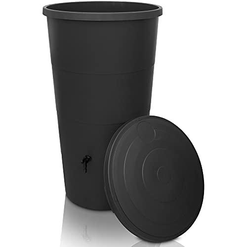 YourCasa Regentonne 160 / 200 Liter [inklusive Regensammler] Regenfass Frostsicher mit Fallrohr Anschluss Set - Regenwassertonne mit Wasserhahn - Regenwassertank Garten (Anthrazit, 200L)
