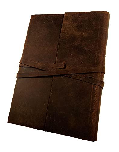 Kooly Zen Notizblock, Tagebuch, Buch, echtes Büffelleder, Vintage, Braun, 13 cm x 18 cm, Recyclingpapier Premium