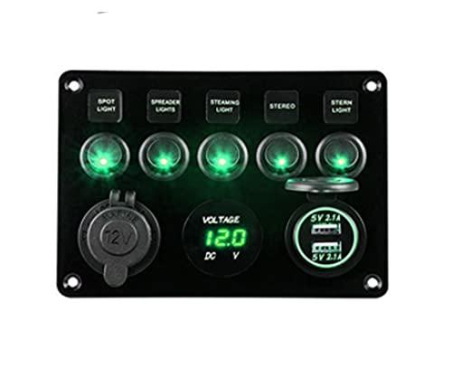 JIAQING Carga USB 6 Panel de Interruptor de Control de rockero de pandillas 12 V 24V APROBACION Abajo AUTOMÁTICO Marino DE Marino DE Circuito DE INCLUTAMENTO VOLTO (Color : ProduceB Green)