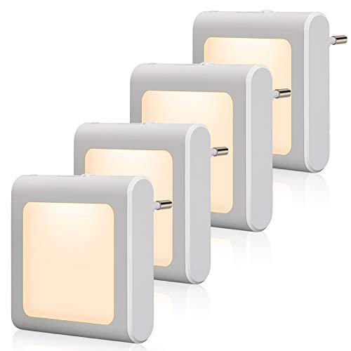 Nachtlicht Steckdose mit Dämmerungssensor, Emotionlite 4 Stück Helligkeit Stufenlos Einstellbar Sehr gut für Kinderzimmer, Treppenaufgang,Schlafzimmer, Küche, Orientierungslicht,WarmWeiß