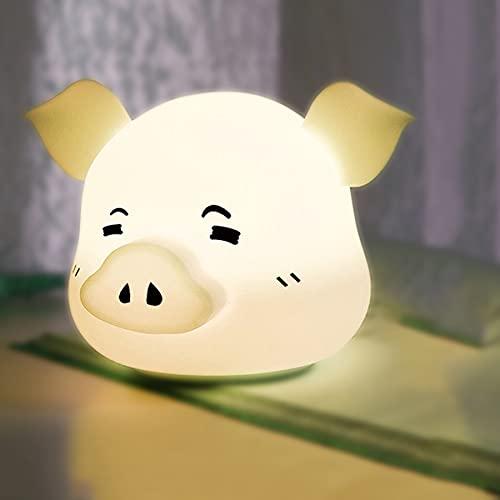 WEGE Luz De Noche De Silicona De Cerdo Feliz, Luz De Noche Recargable USB De La Noche, Adecuado para Corredores, Habitaciones para Niños, Cocinas,Silly Pig