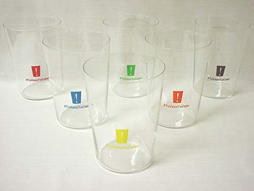 Dkristal Lote 6 Vasos Sidra Cristal Transparente Sella 500ML Colores TU Vaso TU Color