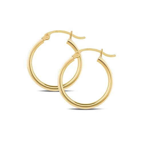 14k Yellow Gold Classic Shiny Polished Round Hoop Earrings for Women, 2mm Tube x 10-65mm Diameters