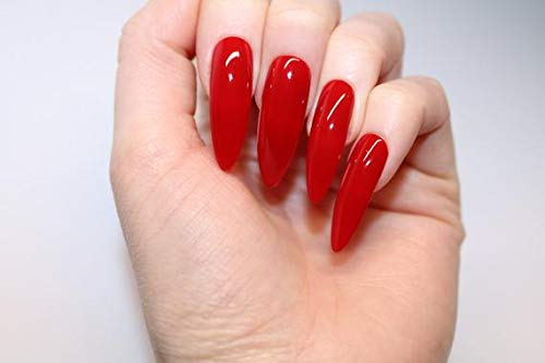 ALLKEM Hot Red Extra Long Stiletto press on false Nail tips 20pcs full cover fake nails