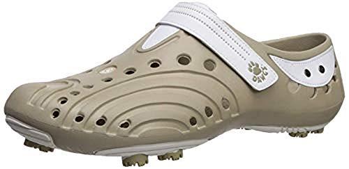 Dawgs golfschoenen dames maat 38 - beige/wit - zacht en duurzaam Eva-materiaal - uitneembare schuimbinnenzool - gevormde voetgewelfsteun - dikke gevoerde hiel.