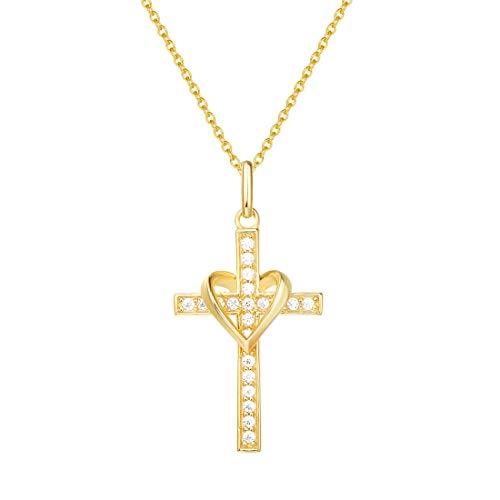 FANCIME 925 Sterling Silber Gold Vergoldet Herz Anhänger Kreuz Kette für Frauen Mädchen Baby Kinder - Kettenlänge: 40 + 5 cm