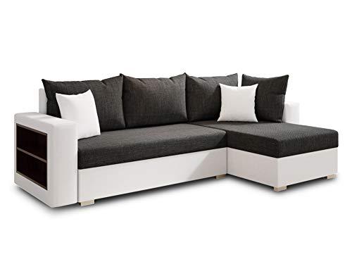 Ecksofa Lord mit Regal und Schlaffunktion - Sofa mit Bettkasten, Schlafsofa, Polsterecke, Couch L-Form, Couchgarnitur, Sofagarnitur (Weiß + Schwarz (Dolaro 511 + Berlin 02), Ecksofa Rechts)