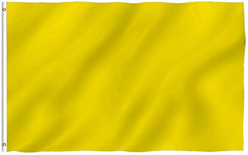 Anley Fly Breeze 3x5 Foot Solid Yellow Flag - Vivid Color and Fade Proof - Canvas Header and Double Stitched - Plain Yellow Flags Polyester with Brass Grommets 3 X 5 Ft
