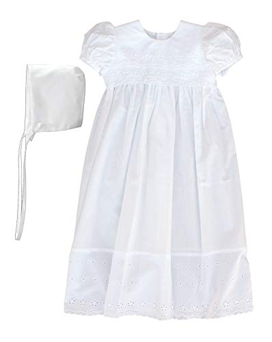 Little Things Mean A Lot 100% Cotton Dress Christening Gown Baptism Gown with Lace Border 6M