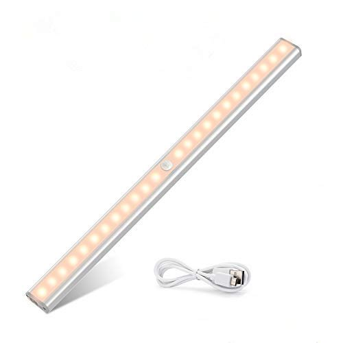 TASMOR LED Sensor Luz del Armario, Inclinada Lámpara para Armario con Tira Magnética Pegada, Auto Encendido/Apagado Pegado en Cualquier Lugar, 24 LED Inalámbrico USB Recargable, 1 Pieza