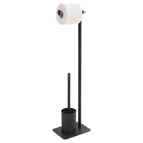 Sealskin 362473619 Stand WC-Garnitur Brix, WC-Butler aus Metall und Holz, Farbe: Schwarz, 20 x 15 x 71,5 cm