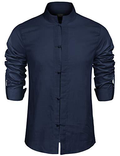 COOFANDY Herren Hemd Leinenhemd Regular Fit Langarm Stehkragen Hemd Elegant Herren Freizeithemd für Männer