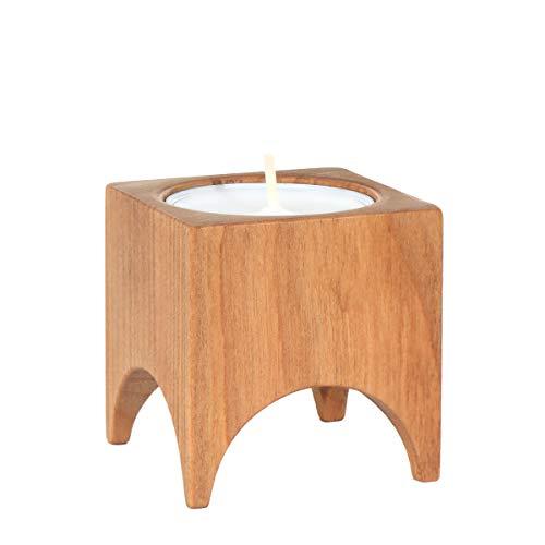 NKlaus 3er Set waxinelichthouder van hout zoete kerk decoratie kaarsenhouder tafeldecoratie 36405